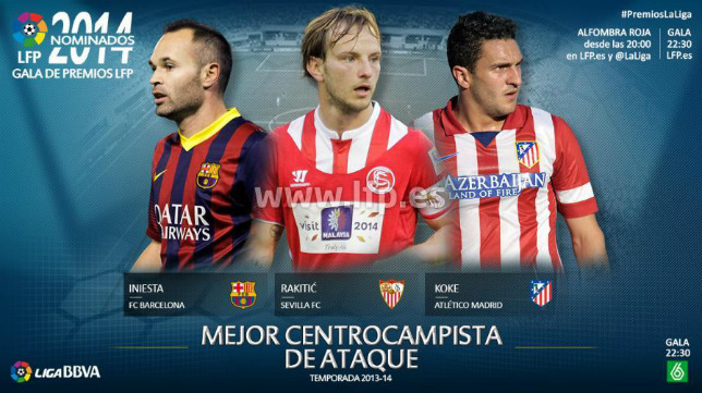 Rakitic opta al premio junto a Iniesta y Koke