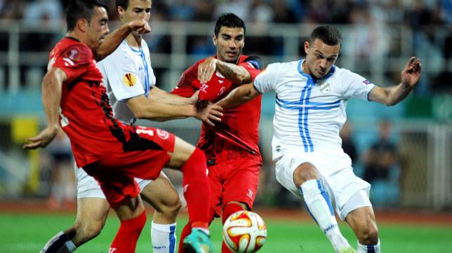 Aspas y Reyes, en un instante del partido ante el Rijeka