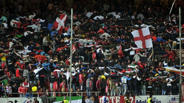 Aficionados del Sevilla en el Sánchez-Pizjuán
