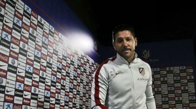 Diego Pablo Simeone, en la sala de prensa del Calderón