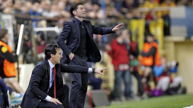 Emery, junto a Marcelino (Foto: AFP)
