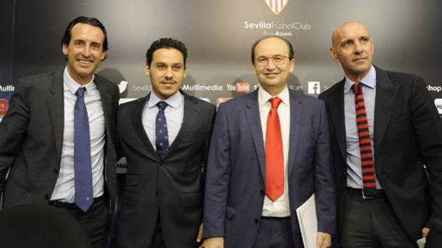 Emery, Del Nido Carrasco, Castro y Monchi, en un acto del Sevilla