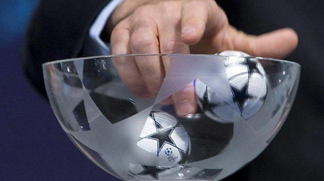 Imagen del sorteo de la Liga de Campeones