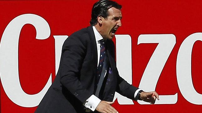 Emery, durante el Sevilla-Celta
