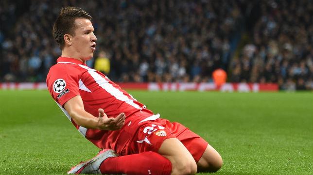 Yevhen Konoplyanka celebra su gol al City