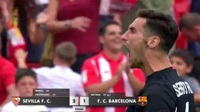 Rico celebra la victoria contra el Barça