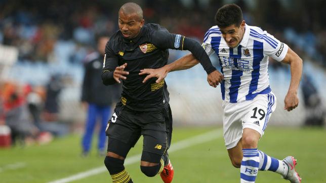 Mariano, en el Real Sociedad de la temporada pasada-Sevilla (Foto: EFE)