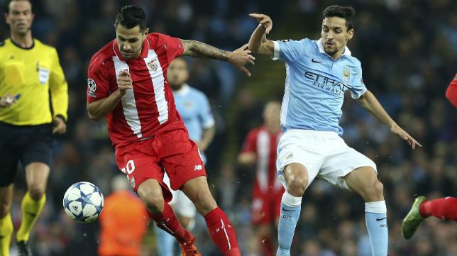 Vitolo, en el Manchester City-Sevilla FC