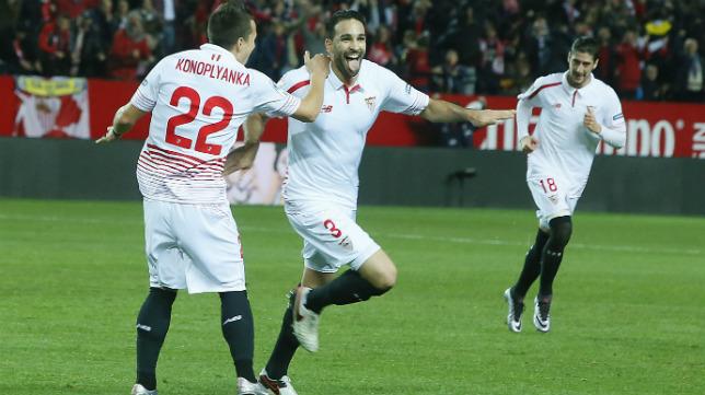 Rami celebra el gol que marcó en el Sevilla FC- Betis en la Copa del Rey