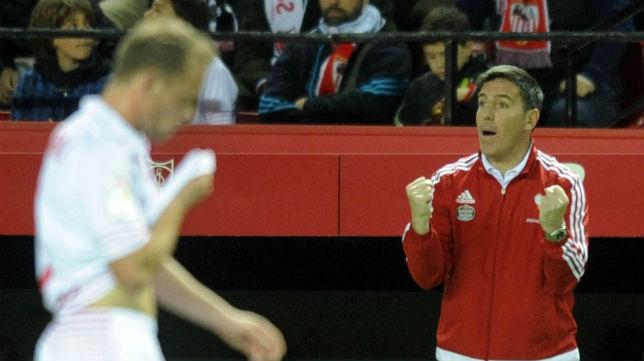Berizzo, técnico del Celta, en un partido con el Sevilla