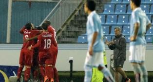 Los jugadores sevillistas celebran un gol en Balaídos