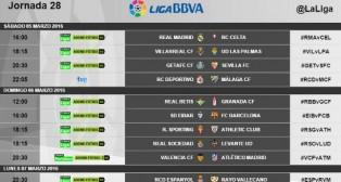 Tabla de los horarios de la jornada 28ª de Primera división (Foto: @LaLiga)
