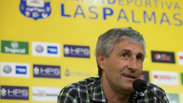 Quique Setién, entrenador de Las Palmas, en una rueda de prensa