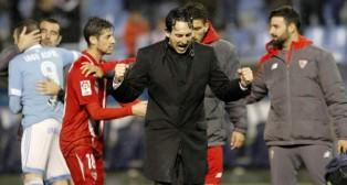 Unai Emery celebra el pase a la final en Balaídos