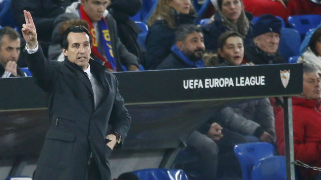 Emery, en el Basilea-Sevilla (Foto: AFP)
