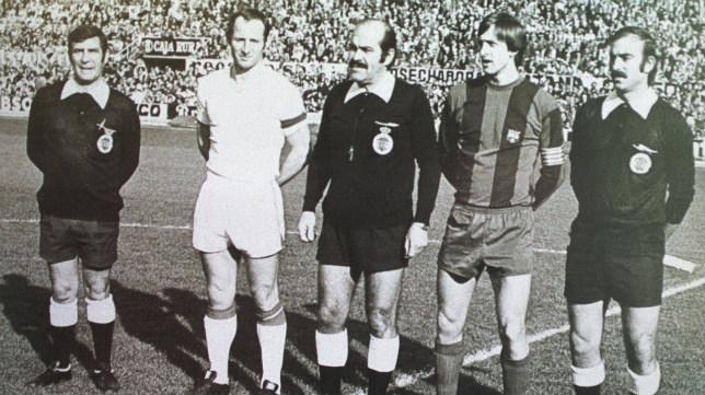 Gallego y Cruyff, en los prolegómenos de un Sevilla FC-Barcelona