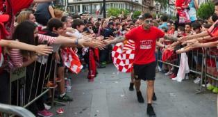 Banega, en la celebración de la Europa League en Sevilla