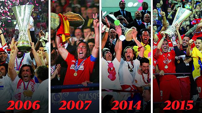 Las cuatro finales anteriores del Sevilla en la Europa League (Foto: Antonio Montes)