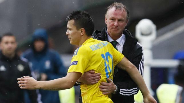Konoplyanka, durante el Ucrania-Irlanda del Norte que supuso la eliminación ucraniana de la Eurocopa