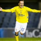 Roque celebra un gol con la UD Las Palmas
