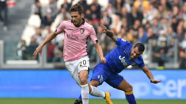 Franco Vázquez, futbolista del Palermo, durante un encuentro ante la Juventus