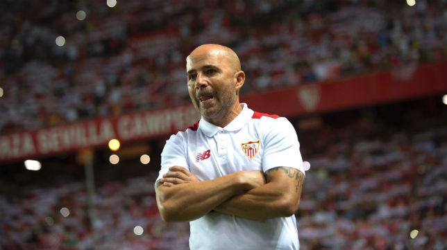 Sampaoli, en la ida de la Supercopa de España ante el Barcelona (foto: AFP)