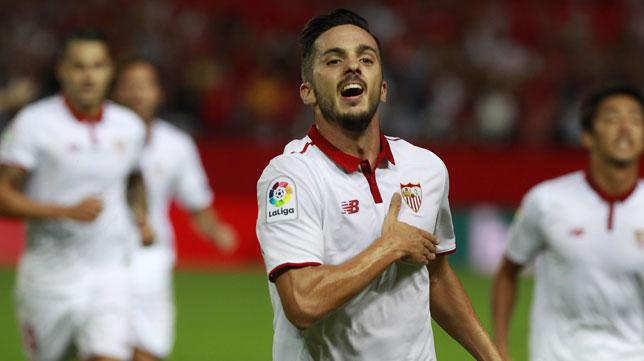 Sarabia celebra su gol al Español (foto: EFE)