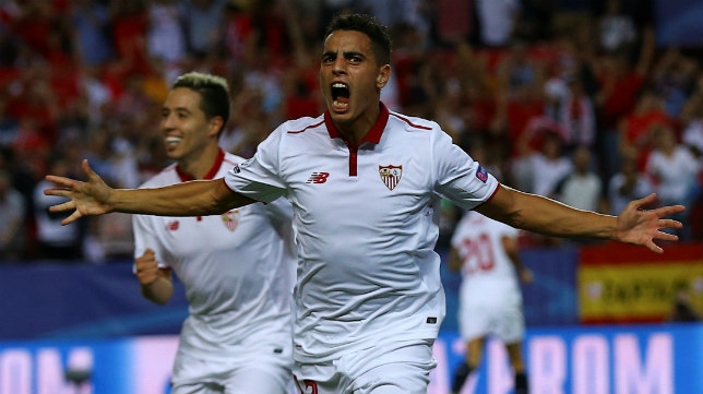 Ben Yedder celebra su gol en el Sevilla-Lyon
