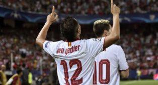 Ben Yedder celebra su gol, el que a la postre le dio los tres puntos al Sevilla el martes en la Liga de Campeones