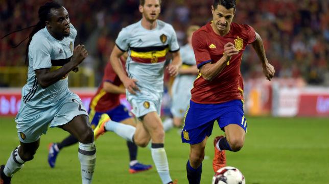 Vitolo, en el partido que jugó con España en Bélgica
