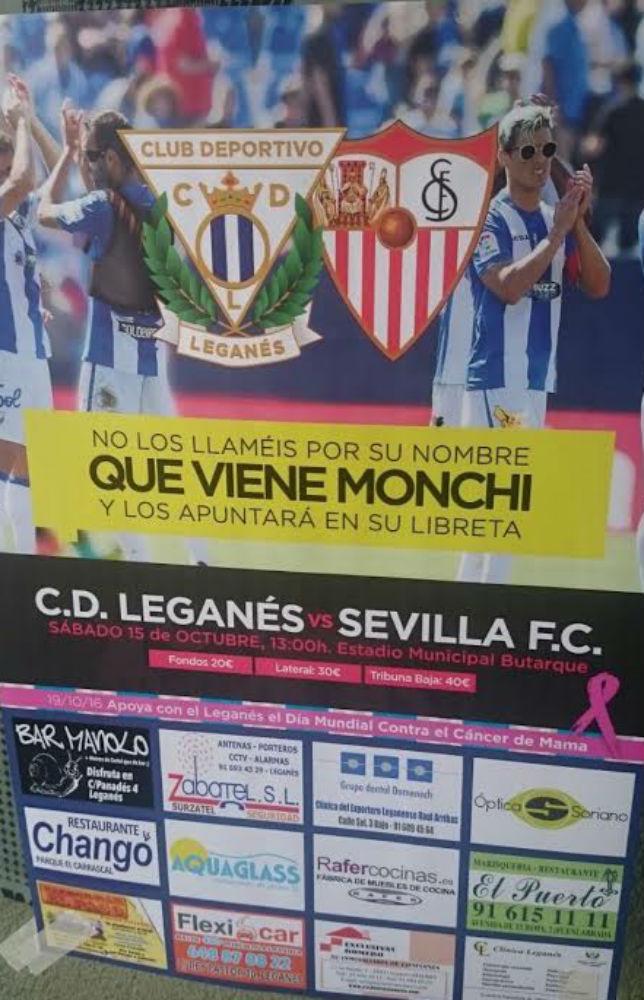 Cartel completo del Leganés-Sevilla (Foto: @jorgecortes74)