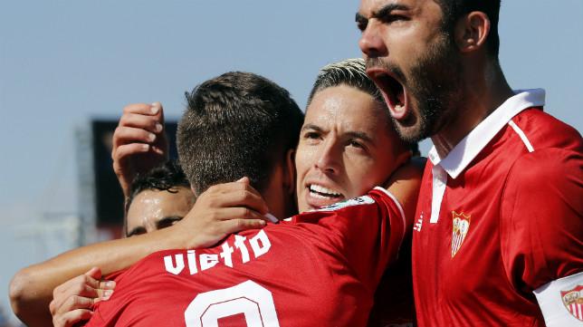 Nasri celebra el gol en Leganés con sus compañeros