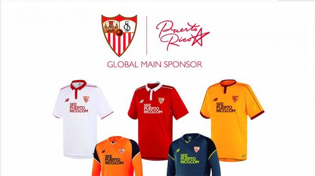 Montaje de las camisetas del Sevilla con el logo SeePuertoRico.com (Foto: SFC)