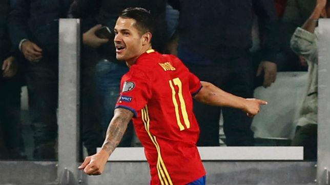 Vitolo, tras marcar su gol a Italia