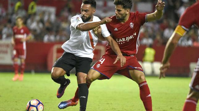 Ivi, en el Sevilla Atlético-Zaragoza (J. Spínola)