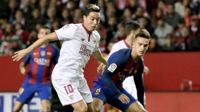 Nasri, durante el Sevilla FC- Barcelona
