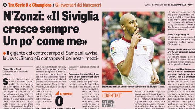 Nzonzi atiende a la Gazzetta dello Sport
