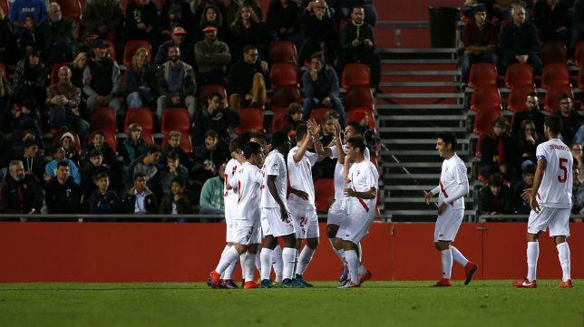 El Sevilla Atlético celebra en Son Moix. Foto: LaLiga