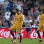Vietto, cabizbajo, tras uno de los goles del Granada