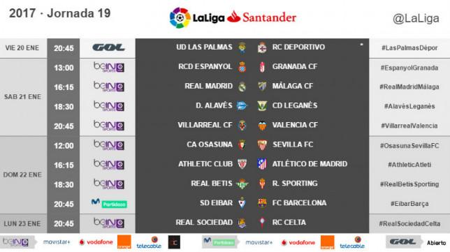 Horarios de la jornada 19ª de LaLiga Santander, con el Osasuna-Sevilla FC