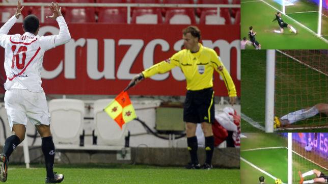 Momento en el que el asistente decreta que no es gol (enero de 2011)