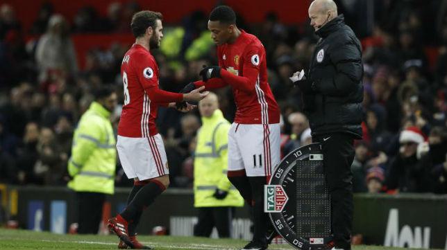 Martial sólo jugó ayer 16 minutos tras sustituir a Mata en el duelo ante el Sunderland (3-1)