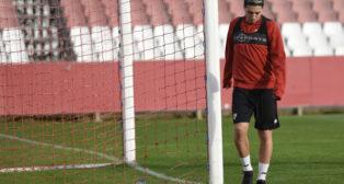 Nasri, en un entrenamiento con el Sevilla FC