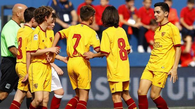 Los jugadores del Sevilla, en Tenerife