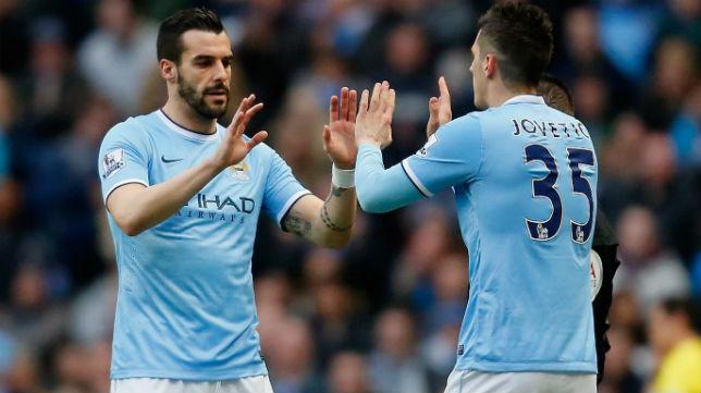 Negredo y Jovetic en un partido con el Manchester City