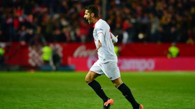 Stevan Jovetic celebra su gol al Madrid en LaLiga