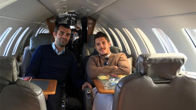Jovetic, en el avión camino de Sevilla