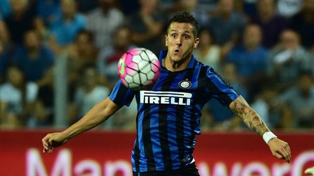 Jovetic, en un partido con el Inter