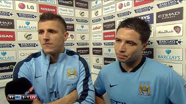 Nasri y Jovetic, tras un partido con el Manchester City, en Sky Sports