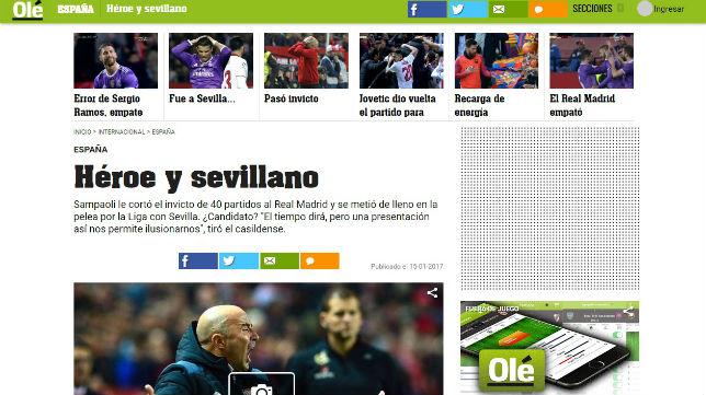 Portada de Olé dedicada a Sampaoli tras el Sevilla-Madrid de LaLiga